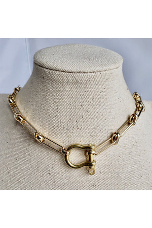 Gray 24K Gold Plated Shackle Lock Stylish Horseshoe Carabiner Large Link Choker Necklace