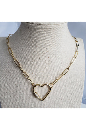 Gray Gold Plated Stylish Curb Chain Choker Necklace with Heart Screw Clasp CZ Pave