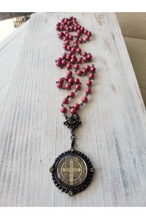 VSA Designs Gunmetal San Benito 6mm Mulberry Pink Pearl Rosary Necklace