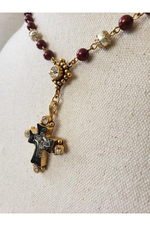 VSA Designs Gold Maria Cross Bordeaux Pearl Rosary Necklace
