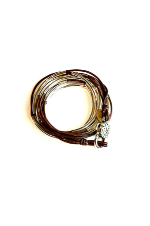 Lizzy James Classic Natural Antique Brown Wrap Bracelet w/Silver