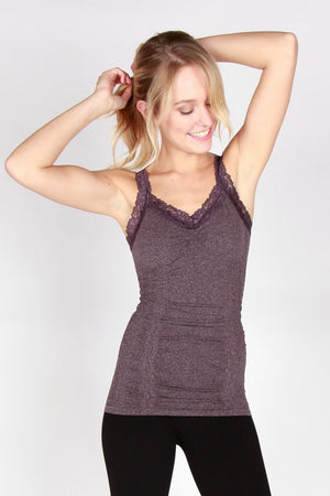 Seamless Lace Trim Stretch Cami Heather Purple