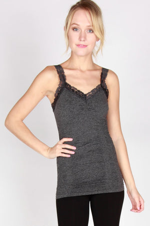 Seamless Lace Trim Stretch Cami Heather Black