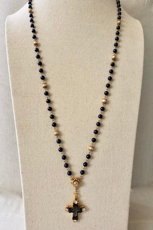 VSA Designs Gold Maria Cross Night Blue Pearl Rosary Necklace