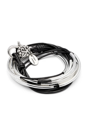 "Lizzy James Classic Black Wrap Bracelet w/Silver-Jewelry-Lizzy James-Large 6 5/8"" to 7""-Black-Leather-Madison San Diego"