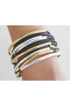 "Lizzy James Classic Black Wrap Bracelet w/Silver/Gold-Jewelry-Lizzy James-Large 6 5/8"" to 7""-Black-Leather-Madison San Diego"