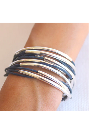 Lizzy James Classic Natural True Blue Wrap Bracelet w/Silver
