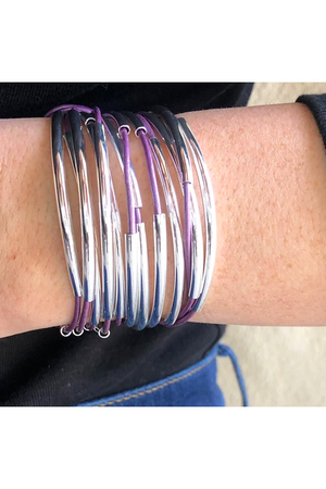 Lizzy James Classic Metallic Berry Wrap Bracelet w/Silver