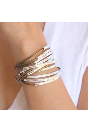 Lizzy James Classic Metallic Bronze Wrap Bracelet w/Silver