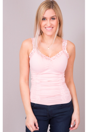 Seamless Lace Trim Stretch Cami Soft Pink