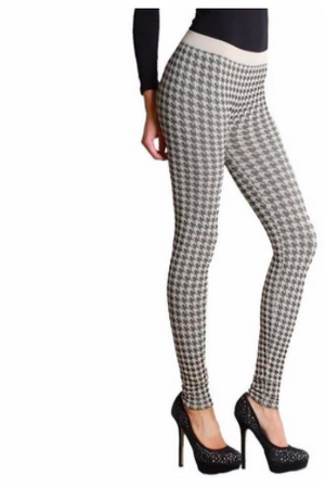 Legging Black and Cream Houndstooth