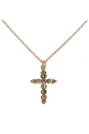 VSA Designs Gold Madonna Cross Necklace Multi Crystals