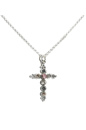 VSA Designs Silver Madonna Cross Charm Necklace Multi Pastel