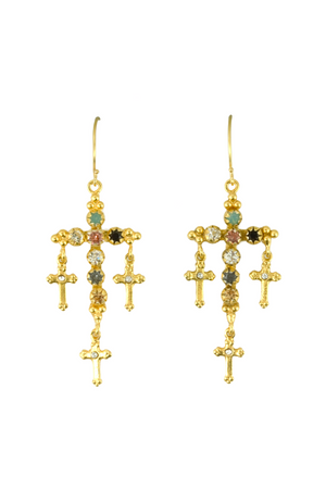 VSA Designs Gold Madonna Multi Cross Earrings