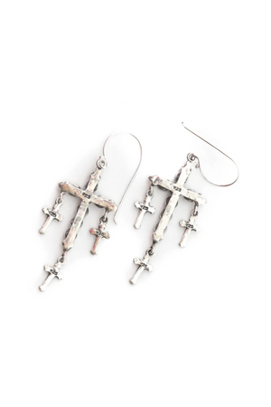 VSA Designs Silver Madonna Multi Cross Earrings