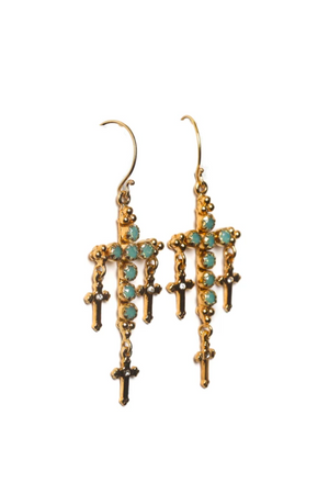 VSA Designs Gold Madonna Multi Cross Earrings with Pacific Opal