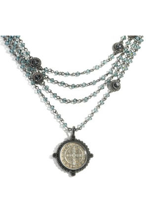 VSA Designs Gunmetal San Benito Indian Sapphire Bicone Magdalena Necklace
