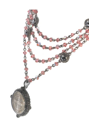 VSA Designs Gunmetal San Benito Blush Rose Bicone Magdalena Necklace