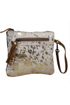 Metallic Spotted Real Leather Wristlet and Pouch