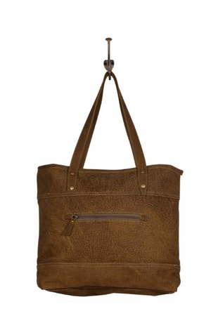 Metallic Spotted Real Leather Tote