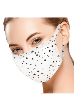 Fashion Face Mask White with Black Stars