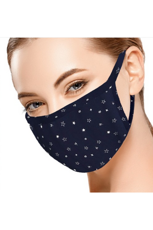 Fashion Face Mask Navy with White Stars