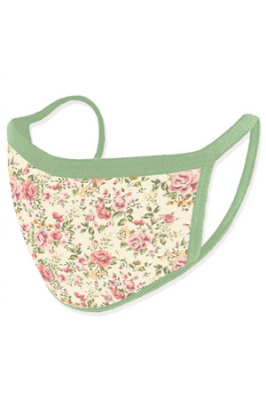 Fashion Face Mask Vintage Rose Floral White with Green Trim