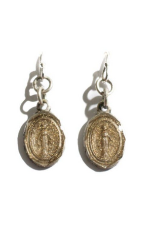 VSA Designs Silver Les Celestes Virgin of Miracles Earrings-Jewelry-VSA-Madison San Diego