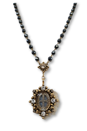 VSA Designs Exclusive Gold Oval San Benito Rosary Necklace-Jewelry-VSA-Madison San Diego