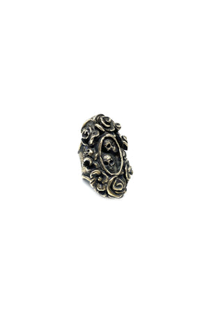 Black Calvera Skull And Roses Ring By Shannon Koszyk