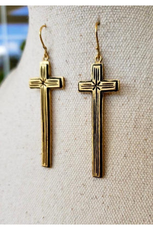VSA Designs Gold Santisimo Cross Earring