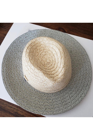 Paper Sun Hat in Natural with Celadon Brim