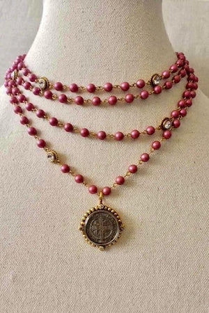 VSA Designs Gold San Benito Magdalena Necklace 6mm Mulberry Pink Pearl, Diamond Crystals