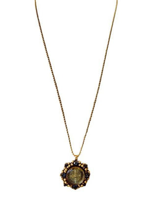 VSA Designs Gold San Benito Cloister Black Diamond Charm Necklace