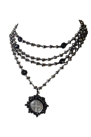 VSA Designs Gunmetal San Benito Cloister 6mm Chrome Crystal Magdalena Necklace-Jewelry-VSA-Madison San Diego