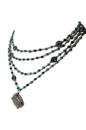 VSA Designs Silver San Benito 4mm Turquoise Magdalena Necklace-Jewelry-VSA-Madison San Diego
