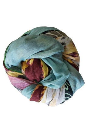 Floral and Tiger Silk Scarf with Fringe