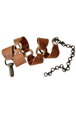 Brown Leather Chain Belt