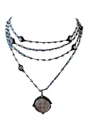VSA Designs Gunmetal San Benito Blue Bicone Magdalena Necklace-Jewelry-VSA-Madison San Diego