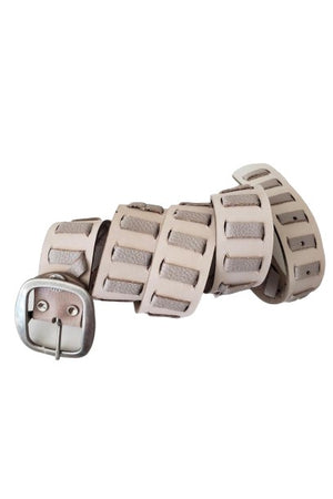Taupe Leather Belt with Antique Silver Buckle