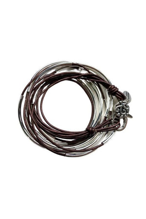 Lizzy James Classic Metallic Chocolate Wrap Bracelet w/Silver