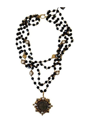 VSA Designs Gold San Benito Cloister Black 6mm Crystal Magdalena Necklace-Jewelry-VSA-Madison San Diego
