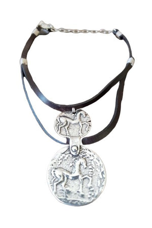 CXC N006 Horse Coin Necklace in Silver-Jewelry-CXC-Madison San Diego