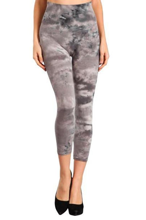 Marble Tie-Dye Crop Legging Gray