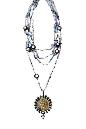 VSA Designs Gunmetal Fay Fairy Star Medallion Bicone Multi Magdalena Necklace-Jewelry-VSA-Madison San Diego