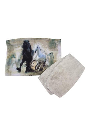 Horse Theme Face Mask + Filters Black Stallion