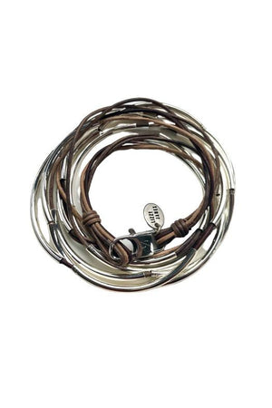 Lizzy James Lizzy Too Tricolor Brown Wrap Bracelet w/Silver