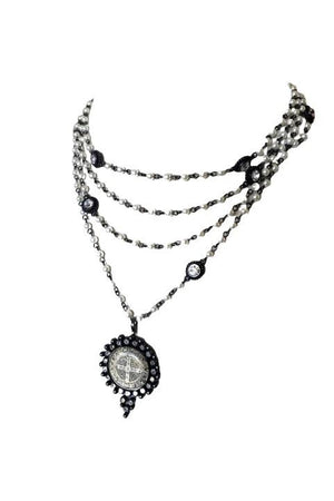 VSA Designs Gunmetal Fay San Benito 4mm Pearl Magdalena Necklace-Jewelry-VSA-Madison San Diego