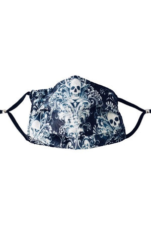 Chic Skull Fancy Pleated  Face Mask with Filters + Carry Pouch