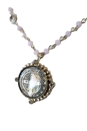 VSA Designs Silver San Benito Coin 4mm Pink Crystal Magdalena Necklace-Necklace-VSA-Madison San Diego